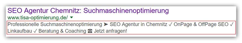 Google Snippet: Meta-Beschreibung