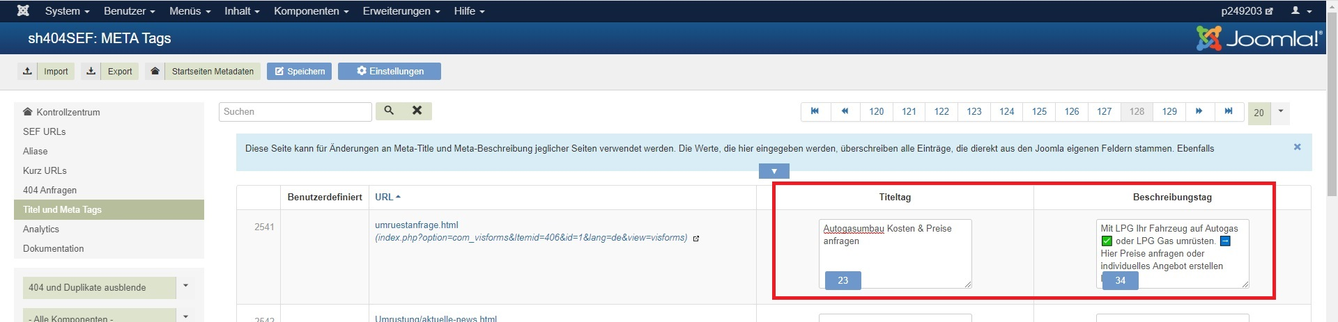 Metadaten-Eingabe in Joomla - 'sh404SEF'