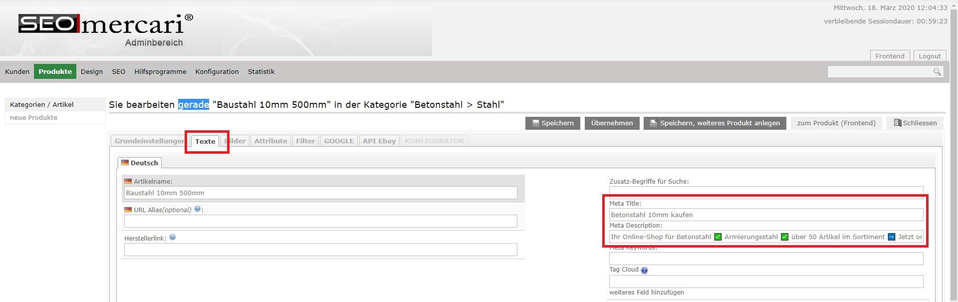 Metadaten-Eingabe in SEO:mercari - Artikel