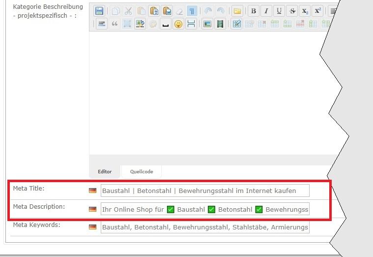 Metadaten-Eingabe in SEO:mercari - Kategorien