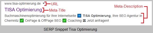 Google Screenshot vom SERP Snippet - TISA Optimierung