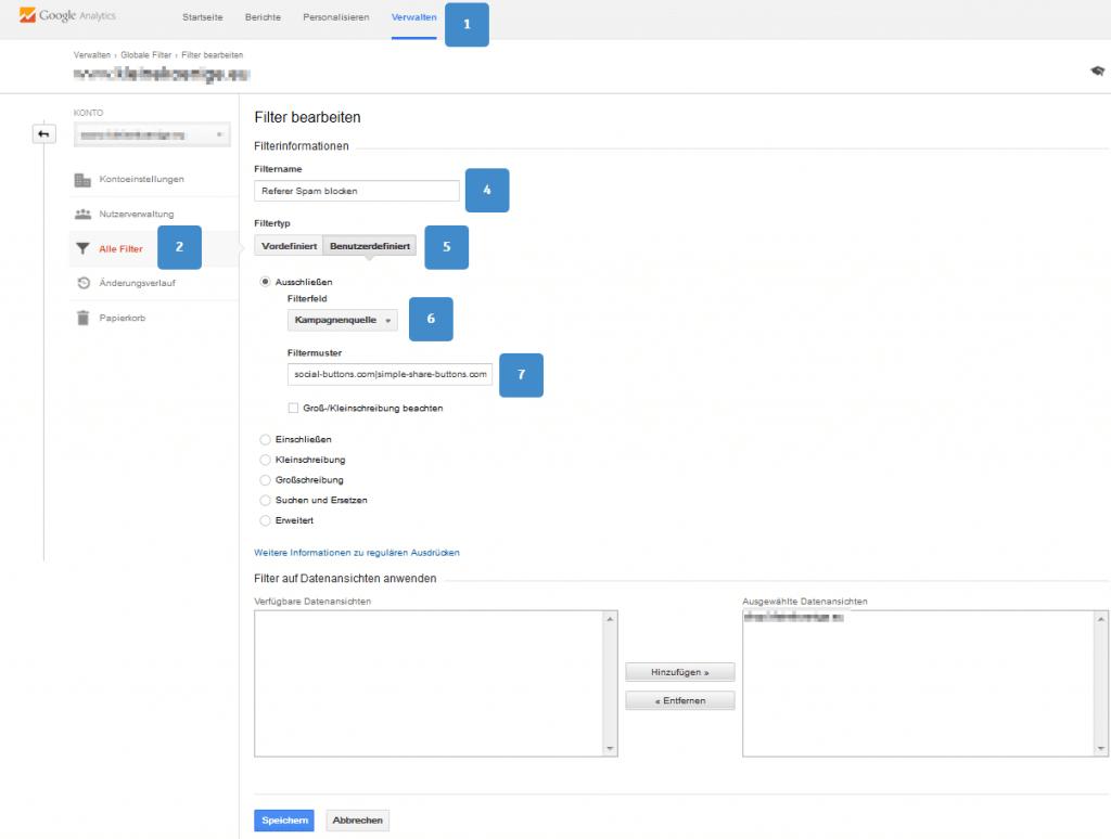 Analytics Filter Einrichten