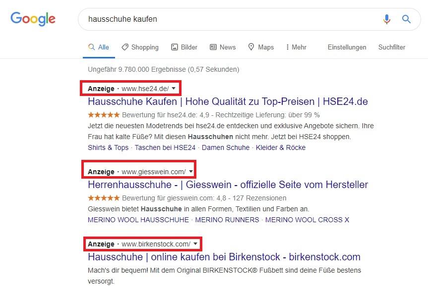 Google Ads Anzeigen Beispiele