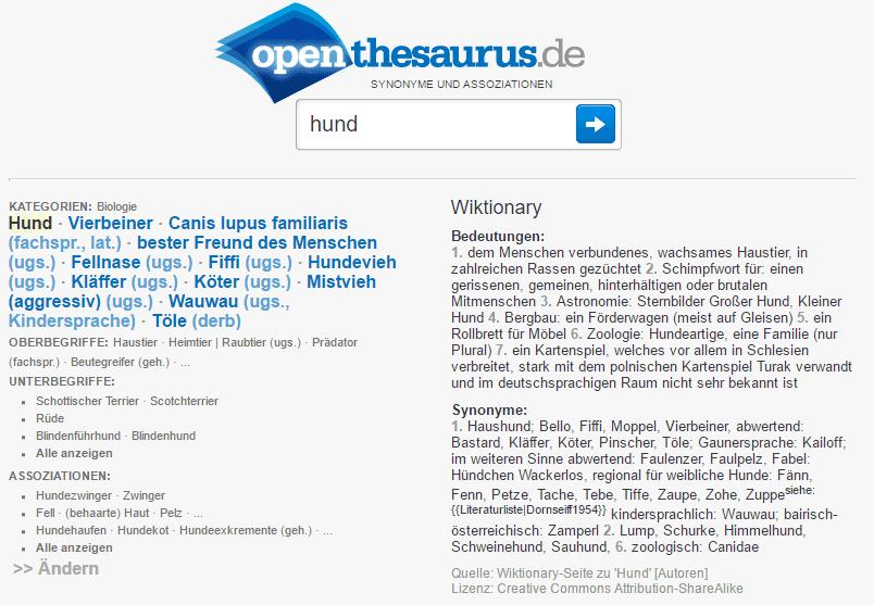 Keyword Recherche mit OpenThesaurus
