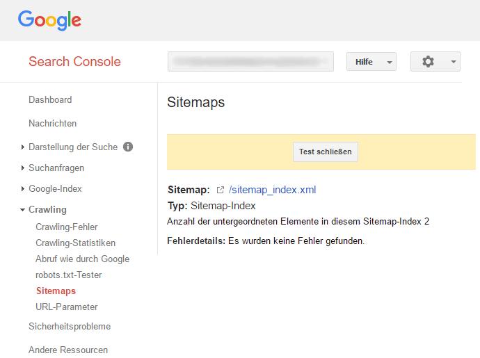 XML-Sitemap-Test mit Googles Search Console