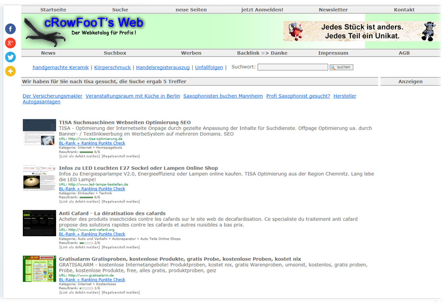 Webkatalog Anmeldungen zur steigerung der Linkpopularität