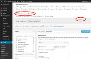 WordPress Backend Menüoptionen