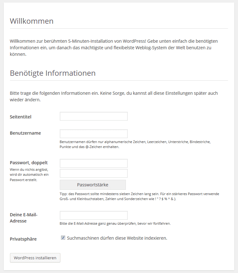 Der WordPress Install Assistent
